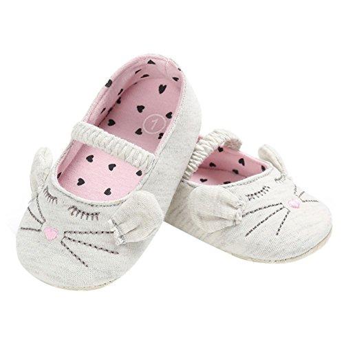 BOBORA Bebe Gatito Suave Inferior Antideslizante Zapatos De Nina gris-blanco