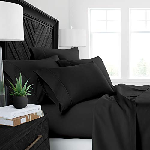 Sleep Restoration Luxury Bed Sheets with All-Natural Pure Aloe Vera Treatment - Eco-Friendly, Hypoallergenic 4-Piece Sheet Set Infused with Soothing/Moisturizing Aloe Vera - King - Black