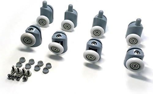 8 Pcs Top//Bottom Shower Door Rollers//Runners//Pulleys//Wheels Bathroom Replacement Parts 22mm Diameter