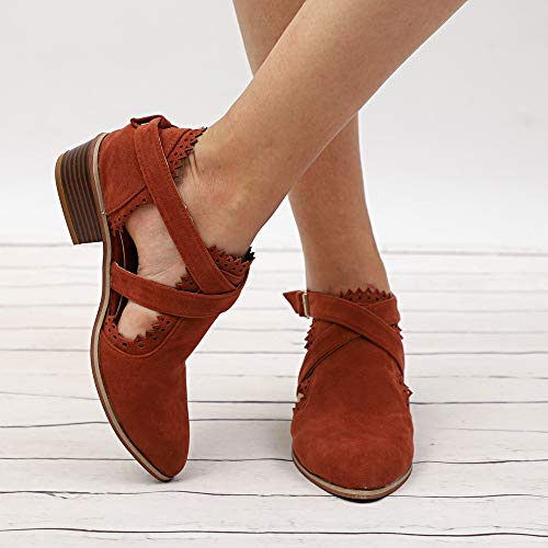 Chaussures Couleur Boucle Strap Single Pure Femmes Munich Bottines Talons Shoes Brown Time Alikeey Ponited Toe Carrs WnI0q8W