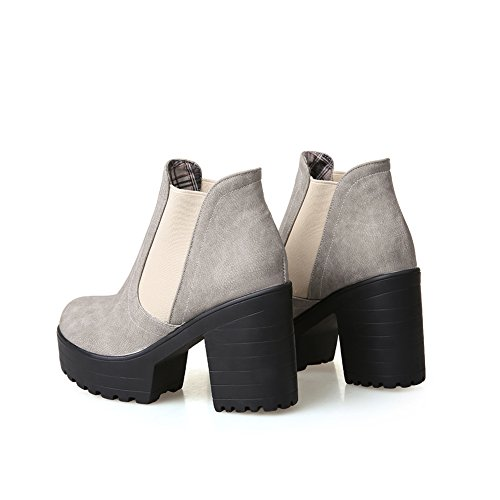 Light Round Grey Platform Womens Ankle Heels Chunky High Toe Boots Elastic Lucksender UwA5gqvx5