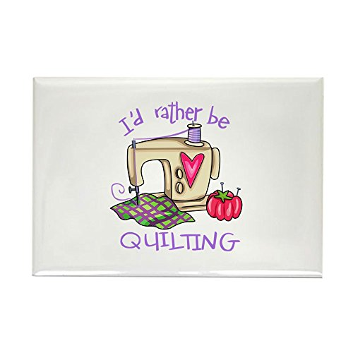(CafePress ID RATHER BE QUILTING Magnets Rectangle Magnet, 2