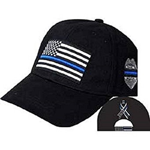MWS Thin Blue Line USA Police Memorial Ribbon Badge Fallen Black Officers Cap Hat 3-07-C -