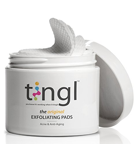 tingl Acne Treatment and Anti-Aging Face Exfoliator with Glycolic Acid, Salicylic Acid, and Lactic Acid. Natural Exfoliant, Face Toner, Pore Minimizer, and Oil Cleanser Pads For Women and Men by tingl