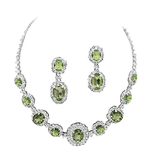 - Peridot Olive Green Regal Rhinestone Crystal Statement Bridal Bridesmaid Necklace Set Silver Tone G5