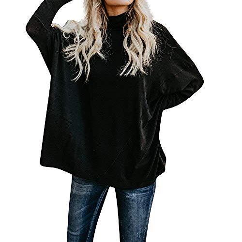 Jersey Solid Betrothales Alt Sweatshirt Couleur Longues Schwarz À Neck Manches Chemises Ladies 7Bq8F