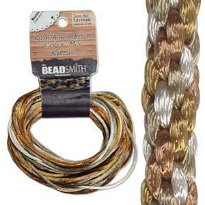 - Beadsmith Satin Rattail Braiding Cord 2mm Warm Neutrals Mix 4 Colors - 3 Yds Each