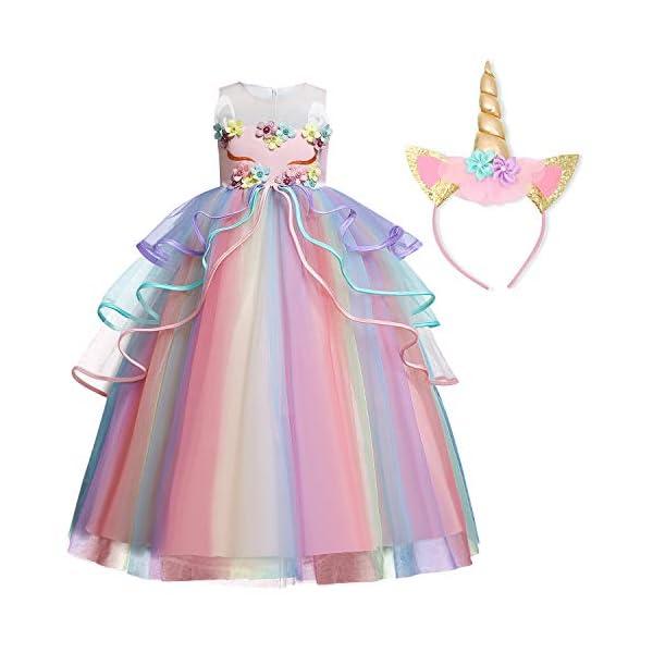 TTYAOVO Ragazze Unicorno Principessa Increspature Vestito 1