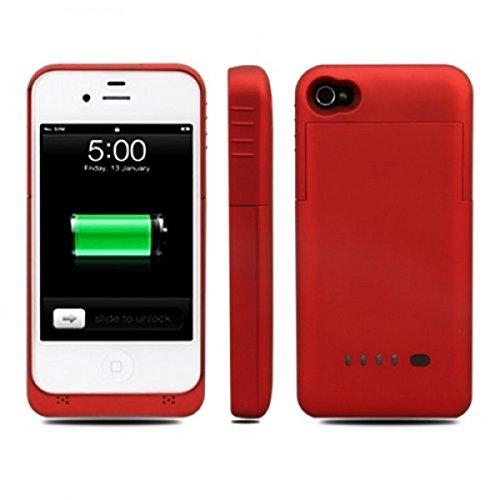 1900 mAh External Backup Battery Case Power Pack Bank Extended for iPhone 4/4S - Red