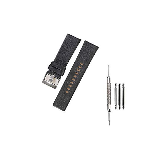 Men's Calfskin Leather Watch Band Compatible with Diesel Watches (26mm, Black) ()