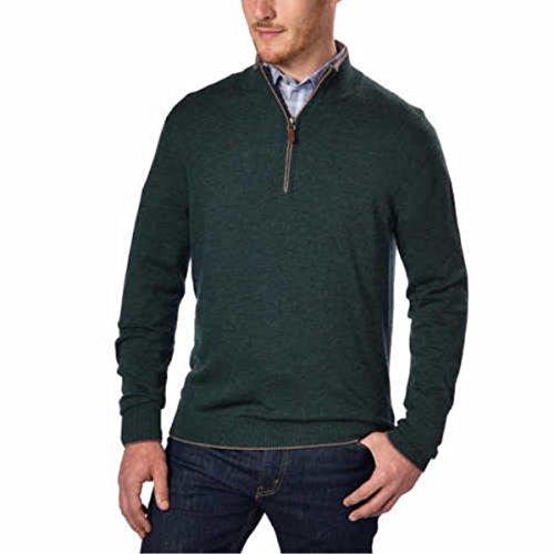Kirkland Signature Men's Extra Fine Merino Wool ¼ Zip Sweater (Green, Large)