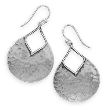 925 Sterling Silver Oxidized Hammered Pear Shape Earrings