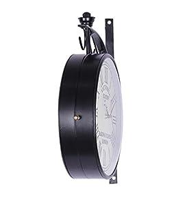 Zahab 10 inch Double Sided Black Wall Clock/Station Wall Clock/Vintage Wall Clock