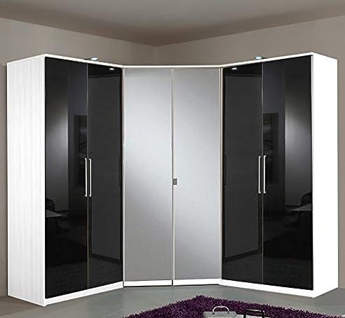 Eckkleiderschrank weiß mit spiegel  Eckkleiderschrank mit Spiegel »BERLIN« Hochglanz black-alpinweiß ...