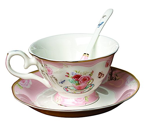 - Jusalpha Vintage Rose Bone China Pink Tea Cup and Saucer Set with Spoon-Coffee Cup-Coffee Mug-FLTCS06