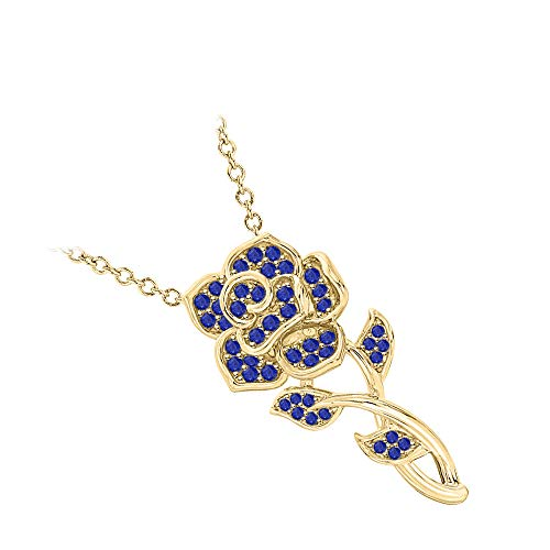 RUDRAFASHION Beautiful Rose Floral Pendant Necklace Blue Sapphire 14k Yellow Gold Over .925 Sterling Silver for Womens