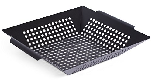 (Internet's Best Square Enameled Grill Basket | 12 Inch | Grill Pan Wok Topper | Nonstick Vegetable Fish Pan)