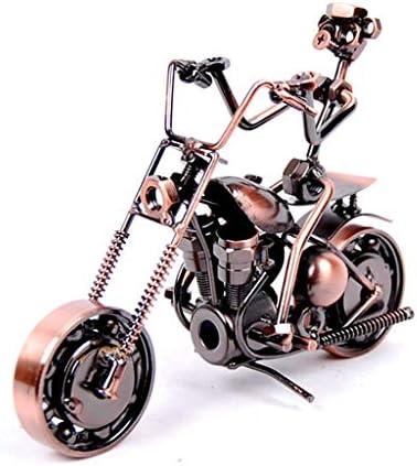 鉄オートバイモデルリビングルームテーブル創造的な装飾かわいい部屋の装飾パーティション装飾小さな装飾品 (Color : Brass, Size : 19*7*14cm)
