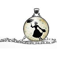"""Collana cabochon, collana illustrata""""Mary poppins"""", Regalo di Natale per idea regalo moglie - San Valentino- regalo di compleanno - argento antico (ref.95a)"""