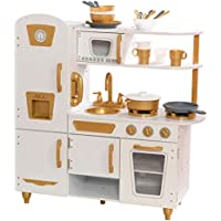 KidKraft Exclusive Edition Modern White Play Kitchen with Gold Accents & 27-Piece Cookware Set