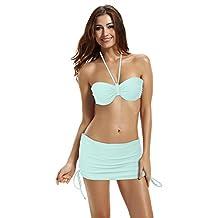 Zeraca Women's Classic Skirted Bottom Bandeau Push up Bikini Bathing Suits