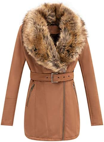 Bellivera Women's Faux Suede Jacket, Coat with Detachable Faux Fur Collar