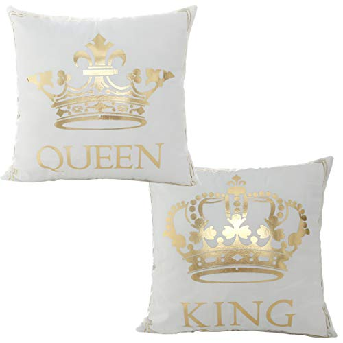 misaya Bronzing Flannelette Home Pillowcase 18x18 Decorative Cushion Cover Queen & King, Tiaras & Crown Gold Throw Pillow Covers Set of 2 -