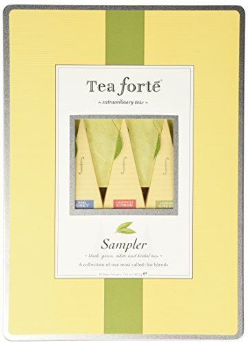 Tea Forte Large Tin Sampler Gift Assortment with 15 Handcrafted Pyramid Tea Infusers - Black Tea Green Tea White Tea Herbal Tea