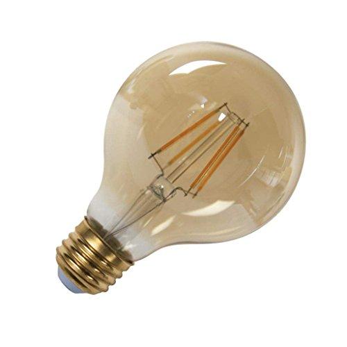 TCP 40W Equivalent G25 Globe LED Filament Light Bulb, Dimmable, Amber (Table Lamp Amber Chrome)