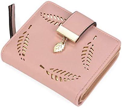 Womens Short Purse Leather Medium Wallet Leaf Bifold Card Coin Holder Small Purses Buckle Zipper Clutch-by Vodiu