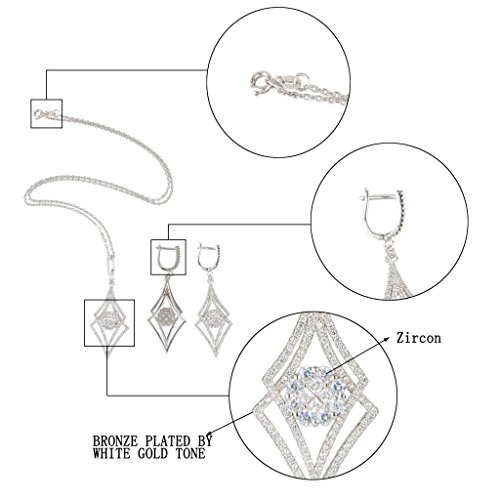 EVER FAITH Silver-Tone Zircon Elegant Double Rhombus Shaped Pendant Necklace Earrings Set Clear by EVER FAITH (Image #4)'