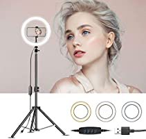 "RJUN 10"" LED Selfie Ring Light with Tripod Stand & Cell Phone Holder for Live Stream/Makeup,YouTube Video,Shooting with..."