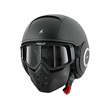 Shark Raw BLANK Casco Jet-M, color negro, acabado mate, color negro