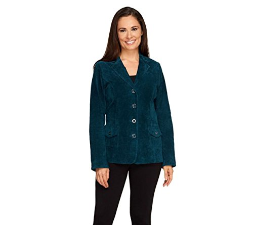 Dennis Basso Washable Suede Button Front Blazer Pockets Lake Blue S New A258454 (Suede Washable Button)