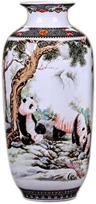 MINLIN Jingdezhen Ceramic Vase Vintage Chinese Style Animal Vase Fine Smooth Surface Home Decoration Furnishing Articles Panda