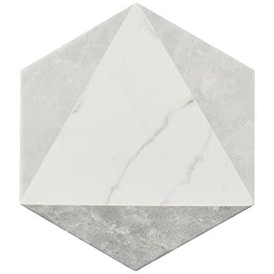 """SomerTile FEQCRXPK Murmur Carrara Hexagon Porcelain Floor & Wall Tile, 7"""" x 8"""", Peak"""