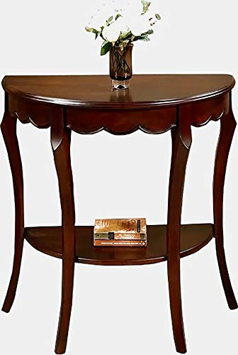 Wood Console Table with Bottom Shelf - Half Moon Console Table with Curved Legs - Cherry ()