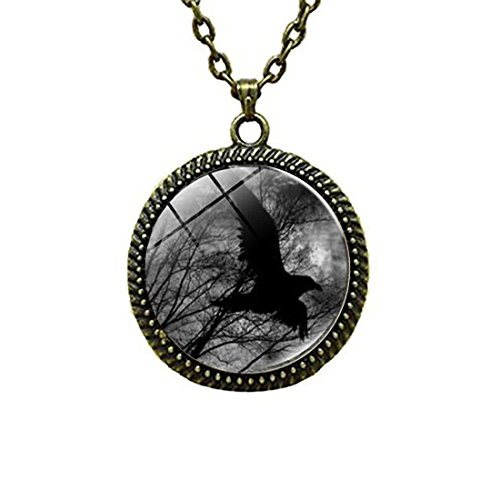 (LEO BON Glass Cabochon Pendant Necklace Moon Black Raven Vintage Chain Circle Bronze Bead Choker Healing Amulet)