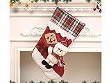 Yunqir Lattice Christmas Stocking Candy Bag Gift Bag Christmas Tree Decoration(Snowman)