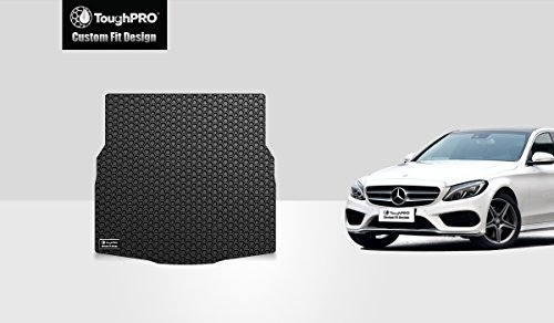ToughPRO Cargo/Trunk Mat Compatible with Mercedes-Benz C300 (Sedan) - All Weather - Heavy Duty - (Made in USA) - Black Rubber - 2015, 2016, 2017, 2018, 2019, 2020