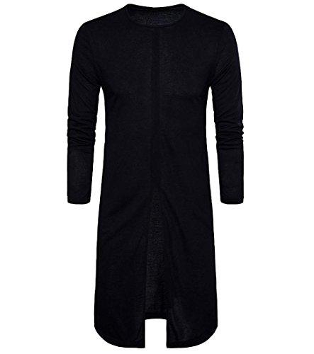 Coolred Mens Long Sleeve Basic Classic Fashion Tee Shirts Tunic Black S (Mens Black Tunic)