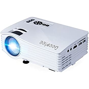 """Deeplee DP36 LED LCD Mini Projector, 120"""" Home Theater Video Projector with AV USB SD Card HDMI for Home Cinema Video Game Courtyard Movie Night Support PC Laptop PS3/PS4 Xbox Wii Projector, White"""