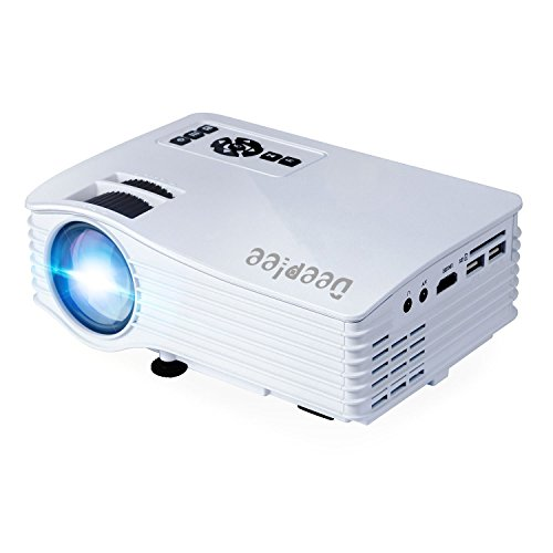 "Deeplee DP36 LED LCD Mini Projector, 120"" Home Theater Video Projector with AV USB SD Card HDMI for Home Cinema Video Game Courtyard Movie Night Support PC Laptop PS3/PS4 Xbox Wii Projector, White Image"