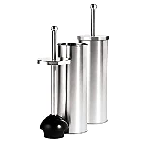 oggi satin finish stainless steel 14 5 inch toilet plunger and holder home kitchen. Black Bedroom Furniture Sets. Home Design Ideas