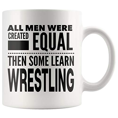 ArtsyMod ALL MEN, LEARN WRESTLING Premium Coffee Mug, Perfect Fun Statement Gift For Wrestlers, Coaches, Team, Students, Man! Durable White Ceramic Mug (11oz.) -