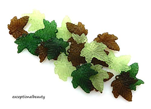 - Pendant Jewelry Making 100 Assorted 20x3mm Frosted Green Olive Leaf Leaves Lucite Bead Drop Charms