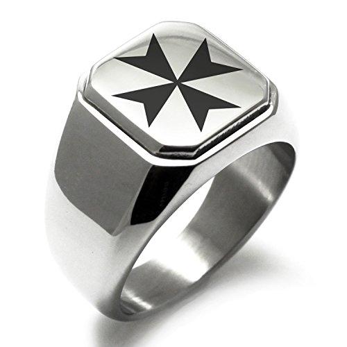 Stainless Steel Maltese Cross Symbol Engraved Square Flat Top Biker Style Polished Ring, Size (Steel Maltese Cross)