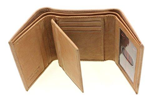 Frenzy Foil - Paul & Taylor Leather Men's Trifold Center Flap Wallet Hidden Pocket Tan