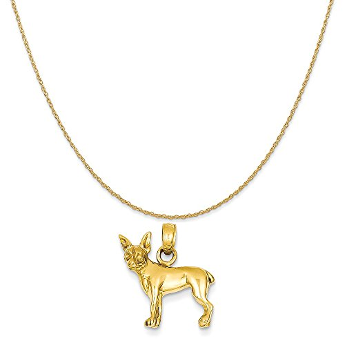 14k Yellow Gold Chihuahua Dog Pendant on a 14K Yellow Gold Rope Chain Necklace, 20
