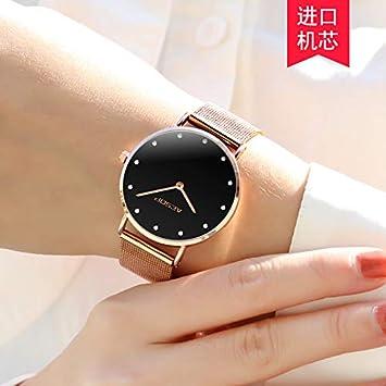 BIWNXAQ Reloj para Mujer Reloj de Cuarzo Reloj para Mujer Tendencia de la Moda Simple, Drill Point Rose Shell Cara Negra: Amazon.es: Deportes y aire libre